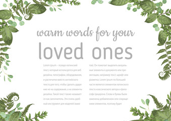 Wedding invitation, beautiful greeting card, vector watercolor banner. Angled frame with green eucalyptus leaves, boxwood, rose and forest fern isolated on white