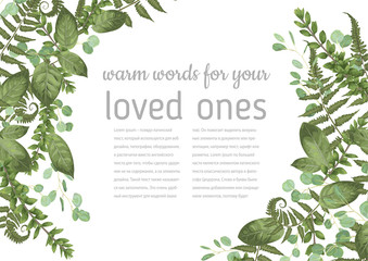 Beautiful vector corner frame with green leaves of eucalyptus, rose, boxwood, forest fern. Suitable for wedding invitations, postcards, posters