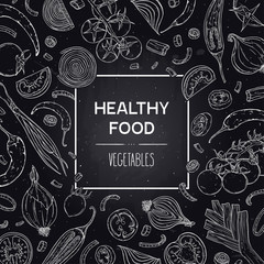 Vector hand-drawn banner with healthy vegetables - tomato, pepper, onion. Organic vegan food sketch illustration in chalkboard style. Design for shop, book, menu, poster, banner.