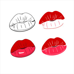 A set of drawings in a vector, hot kiss