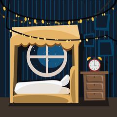 bedroom in celebration day vector illustration