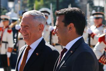 Macedonian PM Zaev and U.S. Secretary of Defense Mattis attend a welcoming ceremony in Skopje