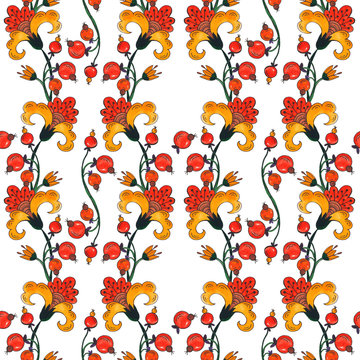 Botanical pattern with red and orange flowers, watercolor background with plants