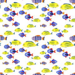 акварельный паттерн с рыбками, подводный мир, морские жители