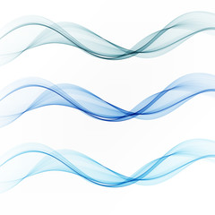 Set abstract color wave smoke transparent smooth. Vector blue lines.