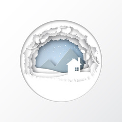 Paper cut of nature and winter season concept with house, leaves plants, and mountain landscape abstract background.Paper art style vector illustration.