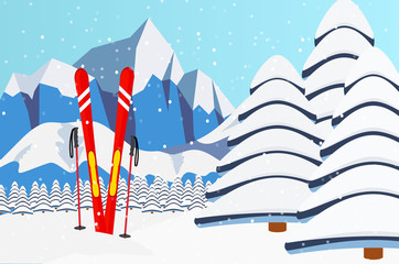 Ski equipment, Alps, fir trees, falling snow, mountains panoramic background, flat vector illustration. Ski resort season is open. Winter web banner design.