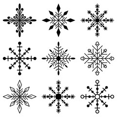 Snowflakes black silhouette vector simple icons set isolated on white background.