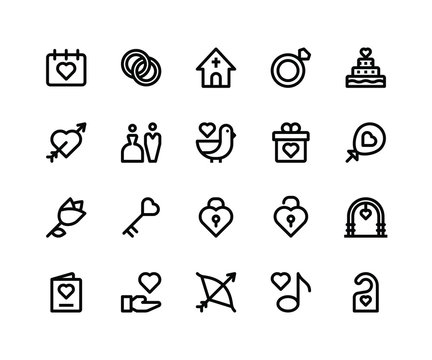 Simple Set of Wedding Related Vector Line Icons. Contains such Icons asdate, ring, church, cake, arch and More. pixel perfect vector icons based on 32px grid. Well Organized and Layered