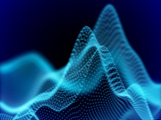 Digital landscape with flowing dots. 3D particle sound waves. Big data abstract visualization: business charts analytics. Digital data transfer background. Blue sound waves, EPS 10 vector illustration