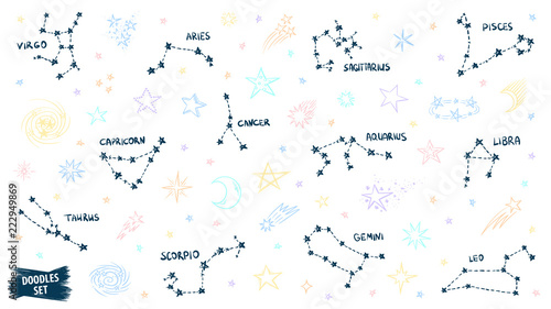 Constellation doodles  Zodiac signs  Stars sketch  Zodiac symbols