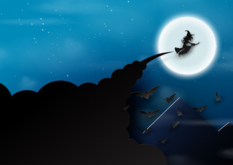 Paper art of halloween night background.The witch,bats and full moon.Vector illustration.