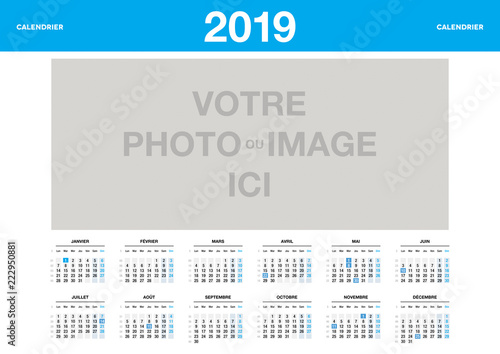 Calendrier 2019 Vectoriel.Calendrier 2019 Personnalisable Stock Image And Royalty