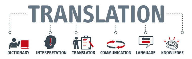 Banner translation concept with icons