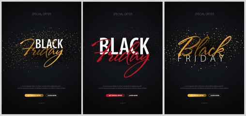Set of Black Friday Sale Calligraphic banners. Vector Illustration.