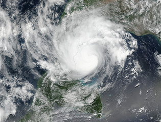 Tropical storm. Giant cyclone. Elements of this image are furnished by NASA