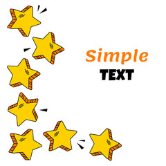 Frame with yellow comic stars fot your text. Vector illustration