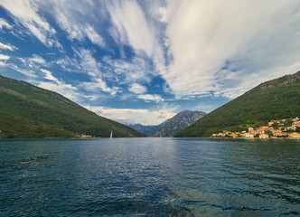 Landscape of Kotor bay in Montenegro. Mountain, sea, nature