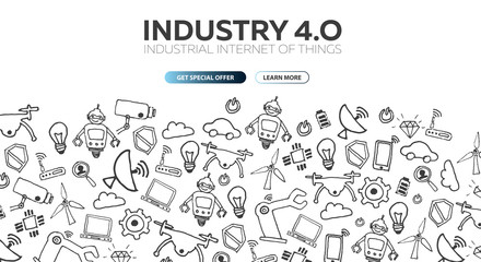 Industry 4.0 banner. Smart industrial revolution, automation, robot assistants. Vector illustration.