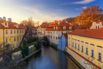 Kampa Island with Certovka River and Watermill in Old Prague, Czech Republic