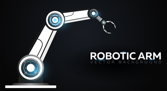 Industry 4.0 banner with robotic arm. Smart industrial revolution, automation, robot assistants. Vector illustration.