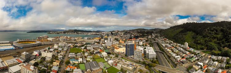 Wellington New Zealand City Aerial Panorama