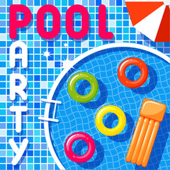 Banner of a pool party.