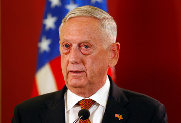 U.S. Secretary of Defense Mattis attends a news conference in Skopje