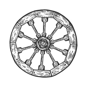 Cart old wooden wheel engraving vector illustration. Scratch board style imitation. Black and white hand drawn image.