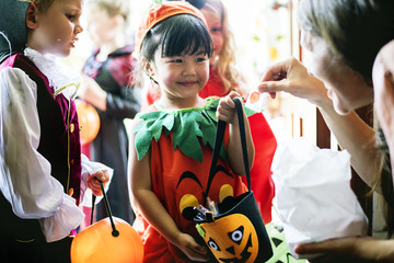 Little children trick or treating on Halloween Wall mural