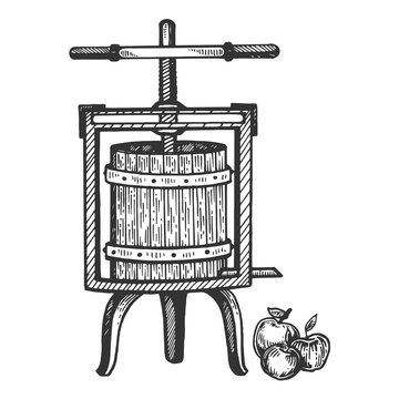 Apple cider juice press engraving vector illustration. Scratch board style imitation. Black and white hand drawn image.