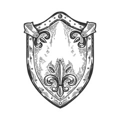 Ancient knight shield engraving vector illustration. Scratch board style imitation. Black and white hand drawn image.