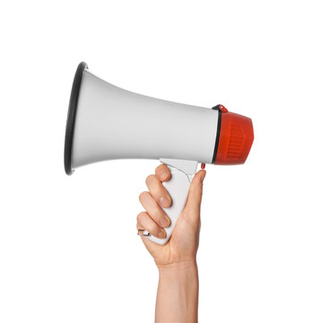 Woman holding megaphone on white background