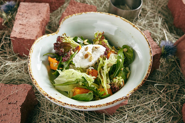 Homemade Rustic Salad with Baked Pumpkin and Cheese Mousse on Hay Background