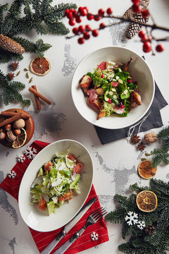 Christmas Salad Set with Quail, Salmon, Fruits and Vegetables Top View