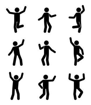 Happy people stick figure icon set. Man in different poses celebrating pictogram