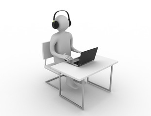 3d computer worker concept