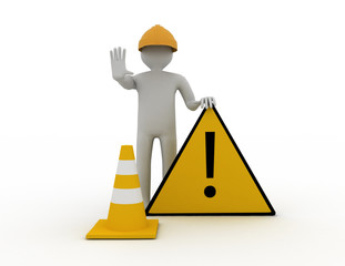 3d worker with traffic coins and warning sign