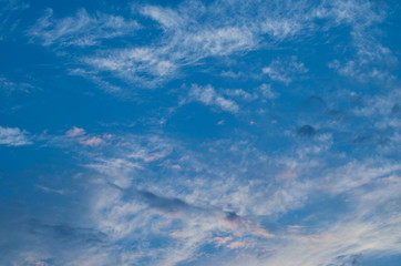 Sunset sky. Bright blue sky. Nature picture for background.
