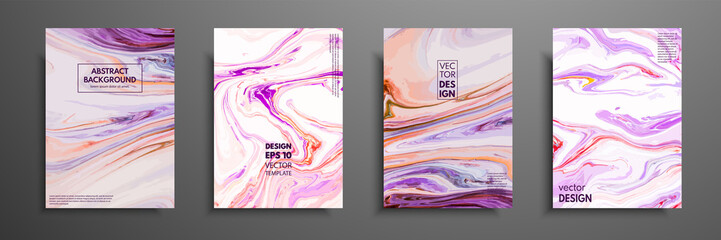 Flyer layout template with mixture of acrylic paints. Liquid marble texture. Fluid art. Applicable for design cover, flyer, poster, placard. Mixed blue, purple, orange and white paints