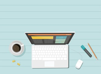 Vector computer. Laptop. Responsive web design. Flat design .