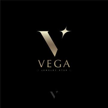 Vega letter. Vega star astronomy logo. Gold letter V with star. Jewelry emblem. Optical illusion gold monogram. Gold V logo on a dark background. Monochrome option.