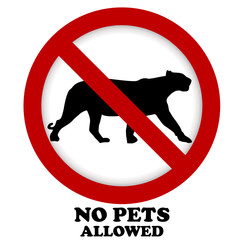Prohibition pet sign illustration with silhouette of panther