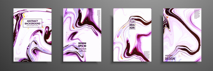 Fototapete - Flyer layout template with mixture of acrylic paints. Liquid marble texture. Fluid art. Applicable for design cover, flyer, poster, placard. Mixed black, purple and white paints