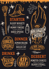 Halloween food menu on a chalkboard.