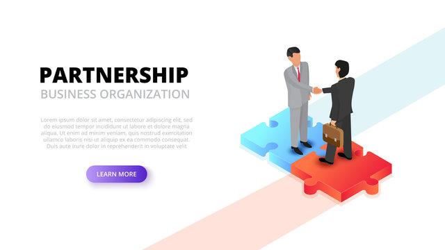 Businessman handshake on puzzle. Partnership concept. Isometric 3d vector illustration.