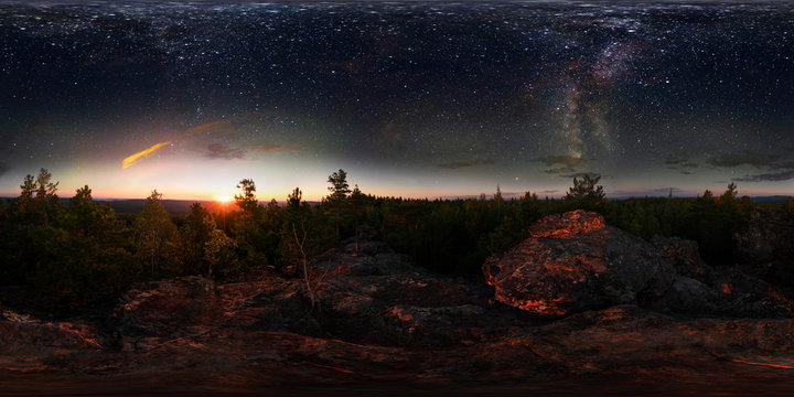 Dawn in the forest under the starry sky a milky way. 360 vr degree spherical panorama