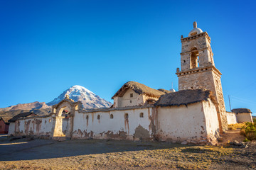 Church of the village of Tomarapi near Sajama volcano in Bolivia, South America