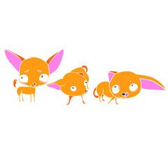 Set of vector illustrations, Three cute puppies, orange