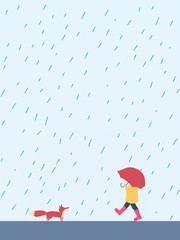 Small playful child walking with umbrella in the rain meeting fox. Cute, adorable, beautiful autumn cartoon character suitable for posters, cards.